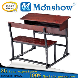Soild Wood Double Studnet Desk and Chair Set for School Furniture