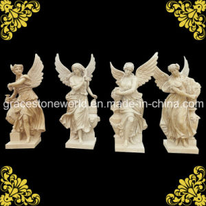 Yellow Marble Four Season God with Wing pictures & photos
