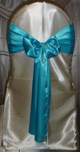 Cheap Turquoise Blue Satin Chair Sashes for Weddings pictures & photos
