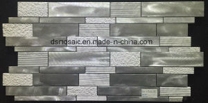White Big Block Glass and Rose Metal Mosaic Tile pictures & photos