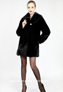 Natural Mink Fur Coat Fur Mink Coat The Entire 2014 New Cheap Black Female Mink Coat pictures & photos