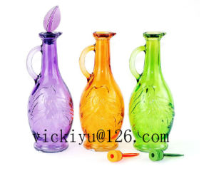 Green Glass Bottle Glass Vinegar Bottle Glass Oil Bottle with Lid pictures & photos