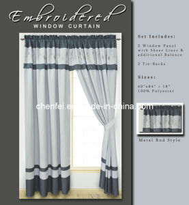 Embroidered Metal Rod Style Window Curtain with Sheer Liner