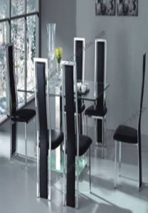 Tempered Glass Stainless Steel Legs Dining Table (ST-5177)
