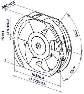 172mmx151mmx38mm Aluminum Housing, Steel Impeller DC17238 Axial Fan pictures & photos