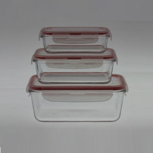 Borosilicate Glass Food Container S/3 Rectangle pictures & photos