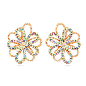 Ladies Alloy Flower Zircon Flashing Earring