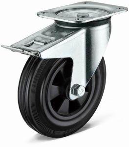 Heavy Duty Flat Plate Swivel with Total Brake Black Rubber Wheel Caster