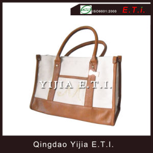 Leather Canvas Tote Bag with Leather Trim pictures & photos