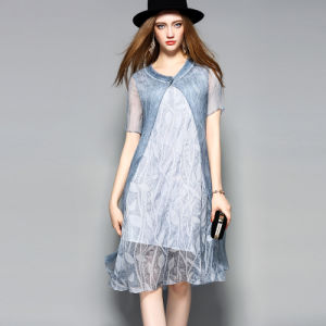 Silk Dress Women Double Layers Short Sleeves Casual Ladies Dress Garment pictures & photos