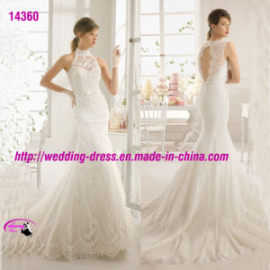 High Collar White Princess Wedding Dress with Keyhole Back pictures & photos
