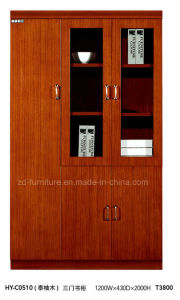 3 Doors Teak Wood Office Bookcase with Glass (HY-C0510)