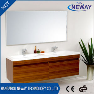 Modern Melamine Wall Teak Bathroom Furniture with Double Basin pictures & photos