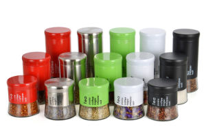 3sets Glass Bottle of Kitchenware Glassware Colorful Metal Sleeves pictures & photos