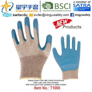 (Patent Products) Latex Coated Green Environment Gloves T1000 pictures & photos