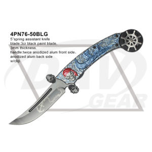 """5"""" Closed Folding Pocket Knife with Twice Anodized (blue&grey) pictures & photos"""