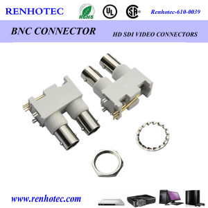 50 Ohm 75 Ohm BNC Right Angle PCB Bulkhead Jack Receptacle with Panel Isolated Hi Temp Polymer Housing pictures & photos