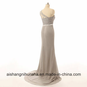 Silver Chiffon Beaded Lace Mermaid Cheap Bridesmaid Dresses pictures & photos