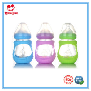 Silicone Sleeve Glass Bottles for Feeding Baby 7ounce pictures & photos