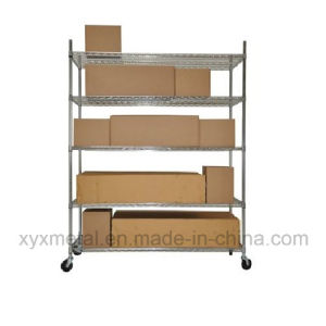 Chrome Metal Heavy Duty Wire Shelving Trolley pictures & photos