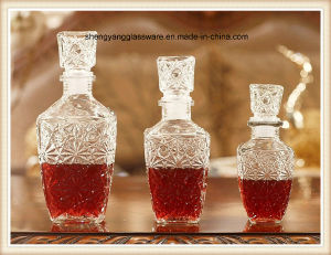 3PC Glass Red Wine Decanter Set with Glass Lid pictures & photos