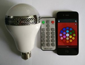 Bluetooth Stereo Speaker Colorful Light Bulb for iPhone Smartphone Laptop PC