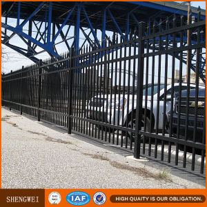 Black Powder Coated Galvanized Steel Pipe Fence pictures & photos