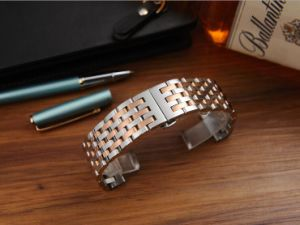 Luxury Watchband Accessories Butterfly Folding Buckle Stainless Steel Band Strap 7 Beads Solid Links Bracelet Watchband pictures & photos
