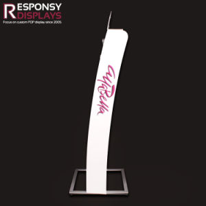 Custom Cosmetic Nail Polish Metal Floor Display Stand with PVC Advertise Fixture pictures & photos