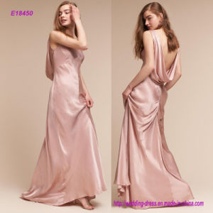 Hot Style Under-Bust Seams and a Flattering Boat Neck Provide Structure and Elegance Satin Evening Dress pictures & photos