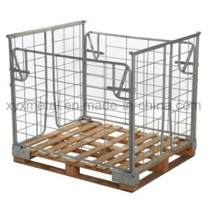 Collapsible Steel Wire Mesh Cage Storage Container for Wooden and Plastic Pallet pictures & photos