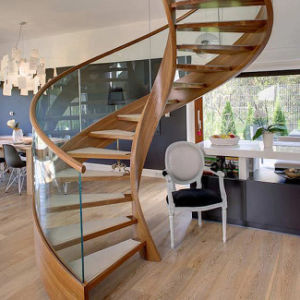 Solid Wood Curved Staircase (PR-C04) pictures & photos