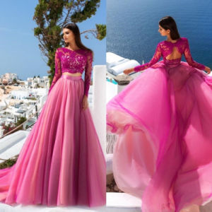 Fuchsia Pink Lace Bodice Party Gowns Beaded Evening Prom Dress Q20161 pictures & photos