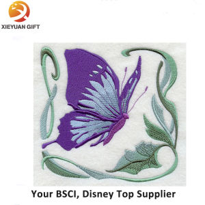 Exquisite Fine Detail Pink Butterfly Embroidery Badge pictures & photos