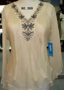 Embroidery Silk Blouse (300)