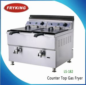 Counter Top Commercial Gas Deep Fryer with Dual Rank and Top pictures & photos