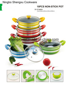 Handle Coated Aluminium Non-Stick Frying Pan Pot Stockpot for Cookware Sets SX-YT-A010 pictures & photos
