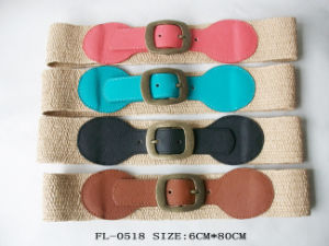 Women Fashion Straw PU Belt pictures & photos