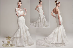 Sweetheart Court Train Organza Lace Wedding Dress with Two Pieces pictures & photos
