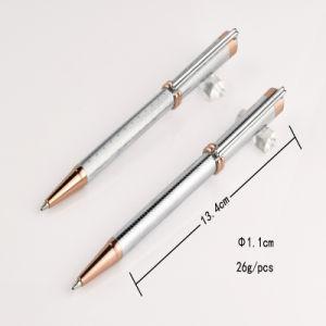 Rose Gold Tip Elegant Silver Metal Ball Pen