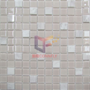 Pink Glass with Marble Mosaic Tile (CS245) pictures & photos