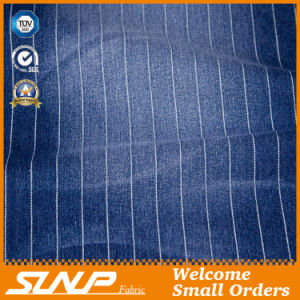 Striped Stretch Cotton/Polyester Denim Fabric