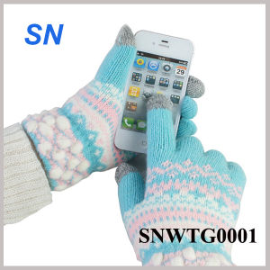Fashion Hot Sell Women′s Floral Smartphone Wool Touch Gloves (SNWTG0001) pictures & photos