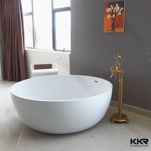 China white round stone resin free standing round bathtubs for Freestanding stone resin bathtubs