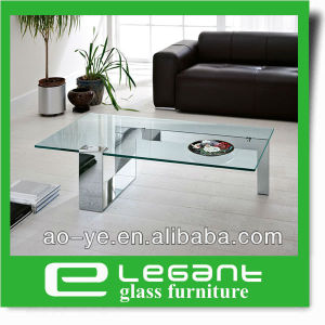 Rectangle Clear Tempered Glass Top Coffee Table with Black Painting Iron Base pictures & photos