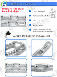 Galvanized Ordinary Mild Steel Long Link Chain pictures & photos
