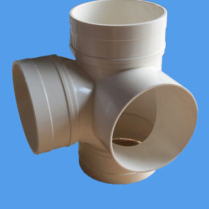 PVC-U Drainage Pipe Fitting Equal Four-Way PVC Stereo Cross with Watermark Certificate pictures & photos
