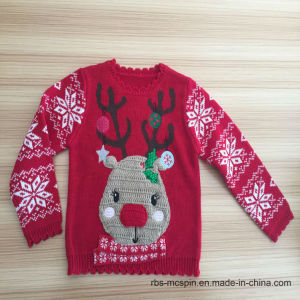 Girls Reindeer with 3D Nose - True Kids Knitted Sweater pictures & photos