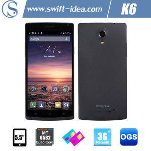 3G Dual SIM Mtk6582 Quad Core Qhd 5.5 Inch Phone with 8.0MP Camera (K6)