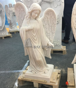 White Marble Lady Statue Angel Sculpture Headstone for Cemetery pictures & photos